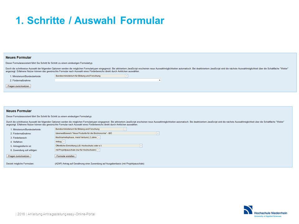 1. Schritte / Auswahl Formular | 2016 | Anleitung Antragsstellung easy-Online-Portal