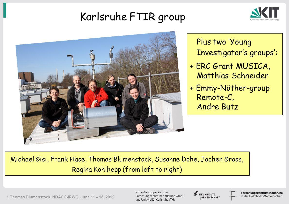 KIT – die Kooperation von Forschungszentrum Karlsruhe GmbH und Universität Karlsruhe (TH) 12 Thomas Blumenstock, NDACC-IRWG, June 11 – 15, 2012 ILS 2011