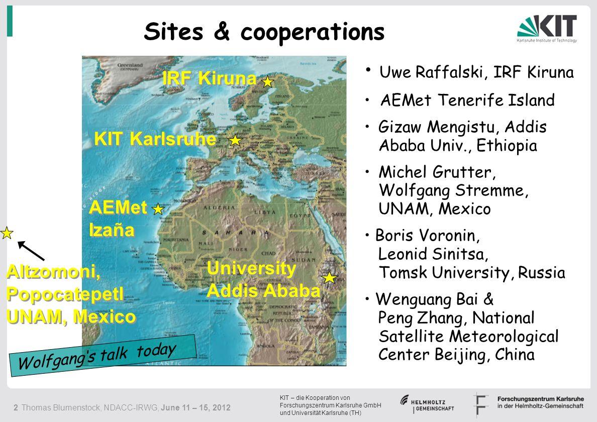 KIT – die Kooperation von Forschungszentrum Karlsruhe GmbH und Universität Karlsruhe (TH) 13 Thomas Blumenstock, NDACC-IRWG, June 11 – 15, 2012 ILS 2007 - 2011