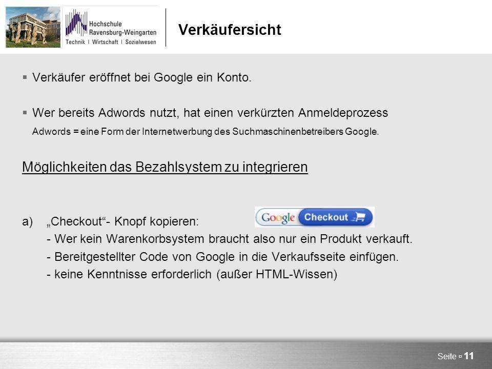 Seite  11 Verkäufersicht  Verkäufer eröffnet bei Google ein Konto.