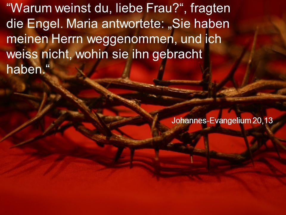 Johannes-Evangelium 20,13 Warum weinst du, liebe Frau? , fragten die Engel.