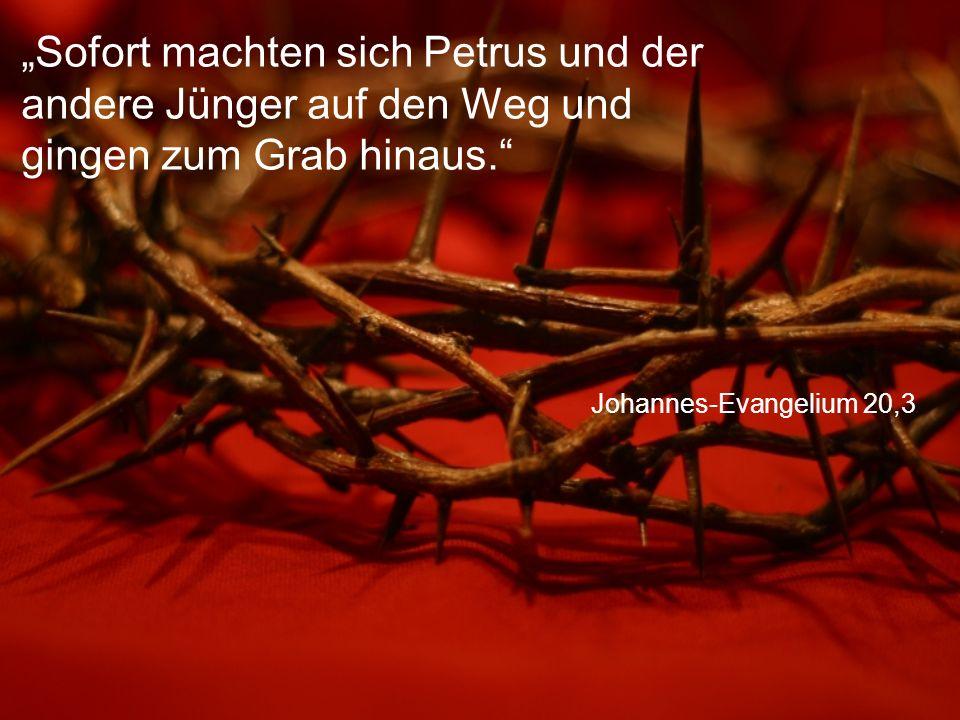 """Johannes-Evangelium 20,3 """"Sofort machten sich Petrus und der andere Jünger auf den Weg und gingen zum Grab hinaus."""