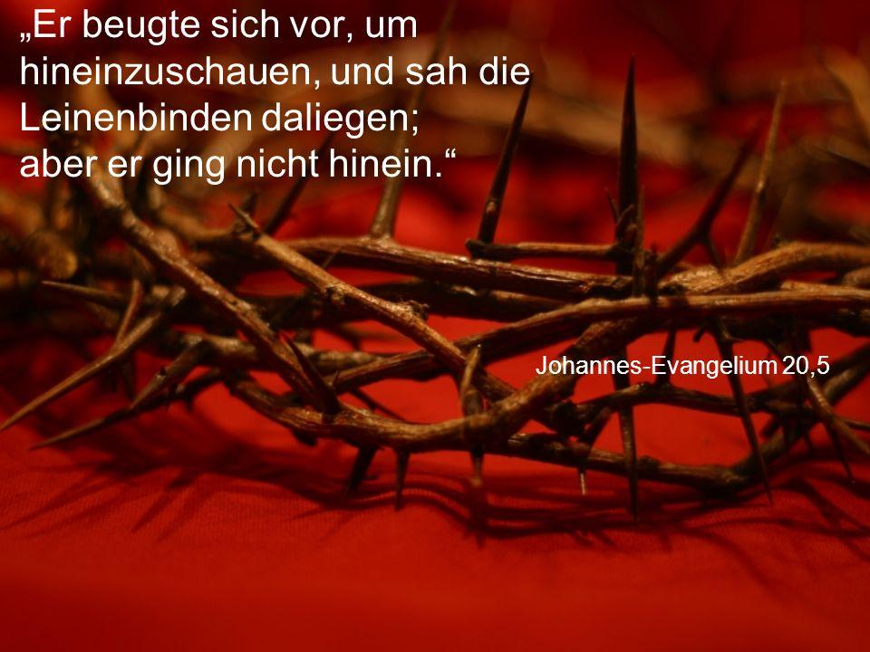 """Johannes-Evangelium 20,5 """"Er beugte sich vor, um hineinzuschauen, und sah die Leinenbinden daliegen; aber er ging nicht hinein."""