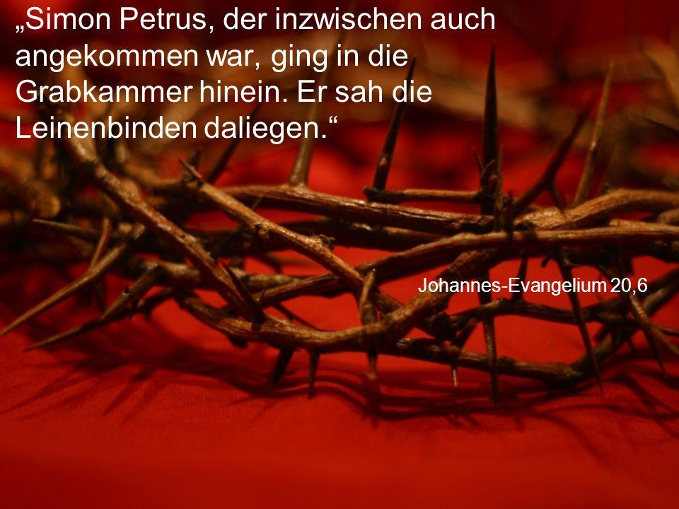"""Johannes-Evangelium 20,6 """"Simon Petrus, der inzwischen auch angekommen war, ging in die Grabkammer hinein."""