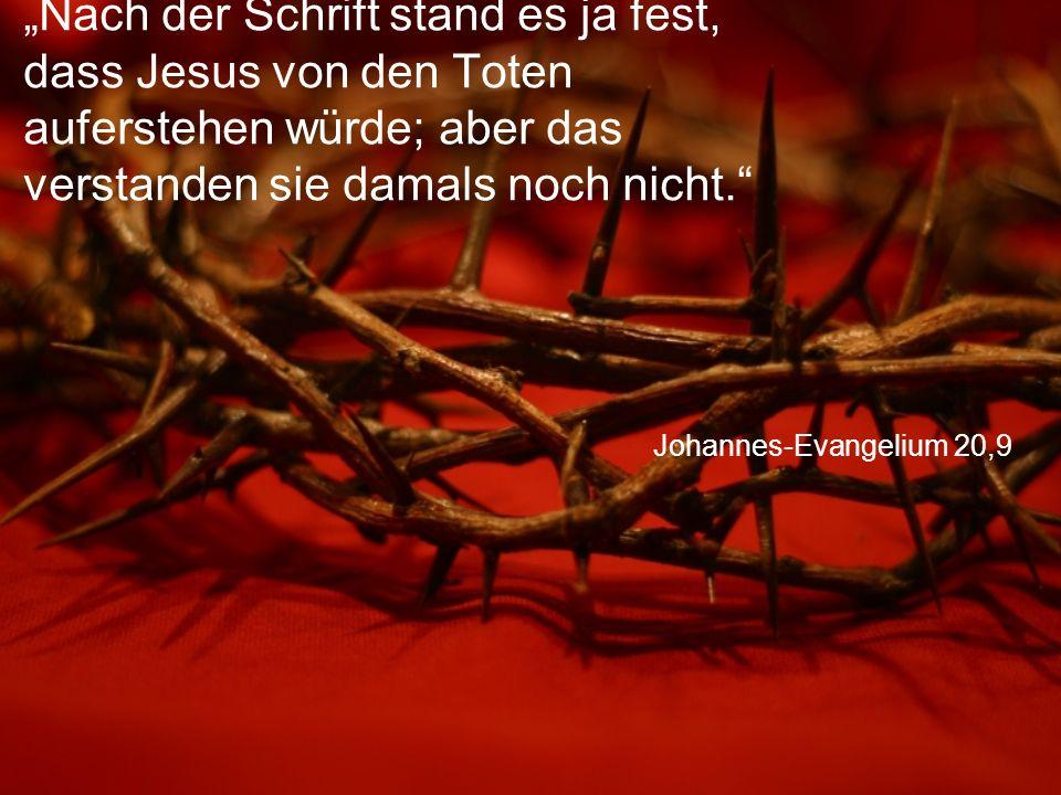 """Johannes-Evangelium 20,9 """"Nach der Schrift stand es ja fest, dass Jesus von den Toten auferstehen würde; aber das verstanden sie damals noch nicht."""