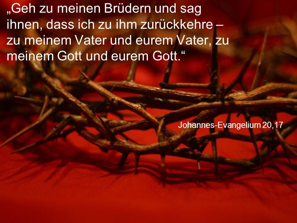 """Johannes-Evangelium 20,17 """"Geh zu meinen Brüdern und sag ihnen, dass ich zu ihm zurückkehre – zu meinem Vater und eurem Vater, zu meinem Gott und eurem Gott."""