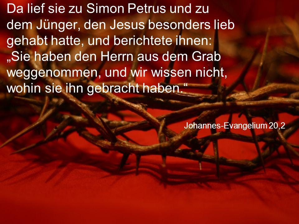 """Johannes-Evangelium 20,2 Da lief sie zu Simon Petrus und zu dem Jünger, den Jesus besonders lieb gehabt hatte, und berichtete ihnen: """"Sie haben den Herrn aus dem Grab weggenommen, und wir wissen nicht, wohin sie ihn gebracht haben."""