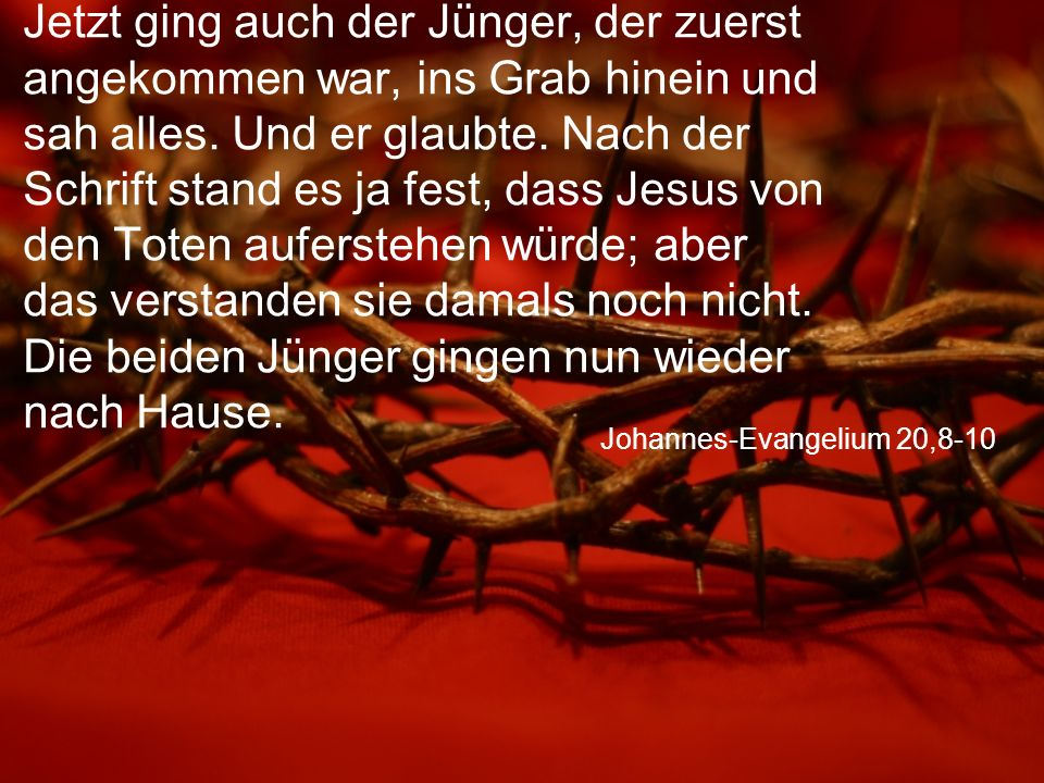 Johannes-Evangelium 20,8-10 Jetzt ging auch der Jünger, der zuerst angekommen war, ins Grab hinein und sah alles.