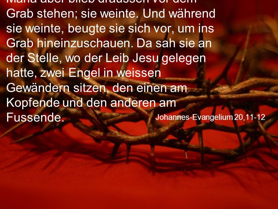 Johannes-Evangelium 20,11-12 Maria aber blieb draussen vor dem Grab stehen; sie weinte.