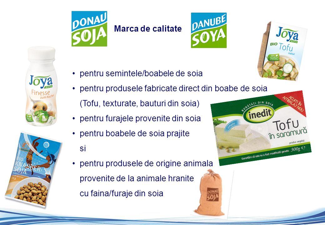 pentru semintele/boabele de soia pentru produsele fabricate direct din boabe de soia (Tofu, texturate, bauturi din soia) pentru furajele provenite din soia pentru boabele de soia prajite si pentru produsele de origine animala provenite de la animale hranite cu faina/furaje din soia Marca de calitate