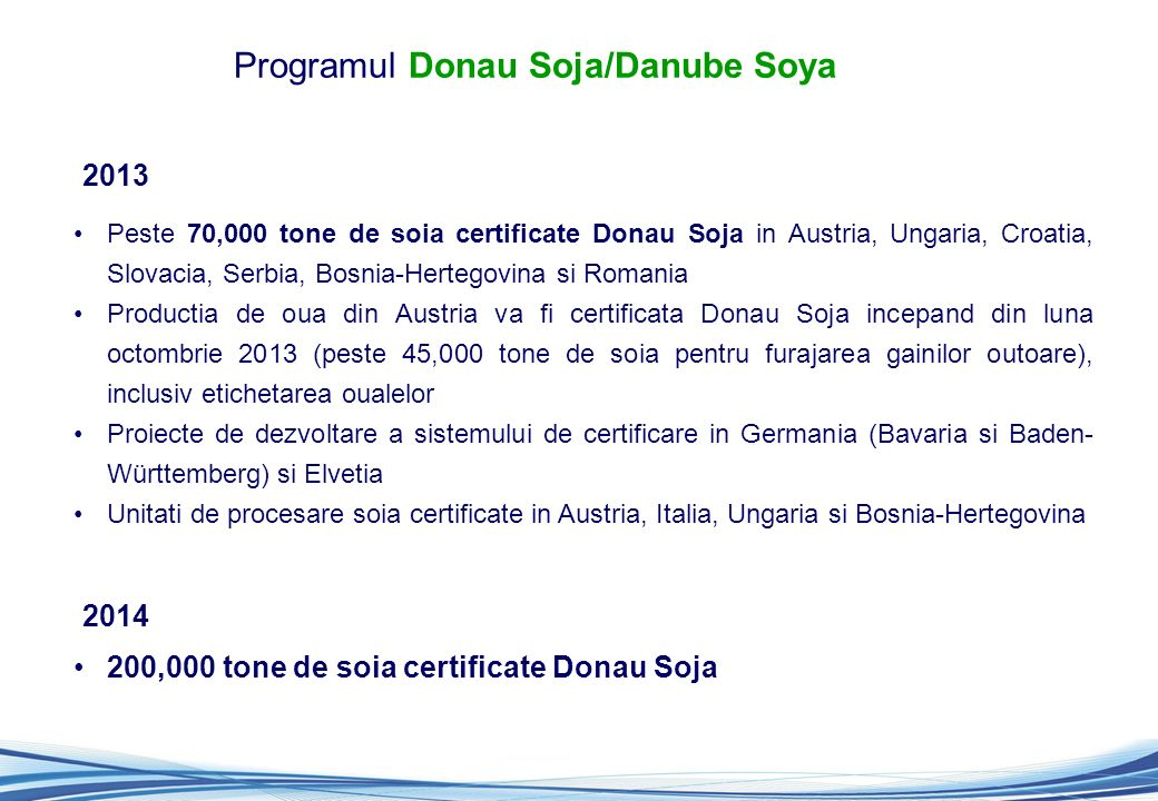 Programul Donau Soja/Danube Soya Peste 70,000 tone de soia certificate Donau Soja in Austria, Ungaria, Croatia, Slovacia, Serbia, Bosnia-Hertegovina s