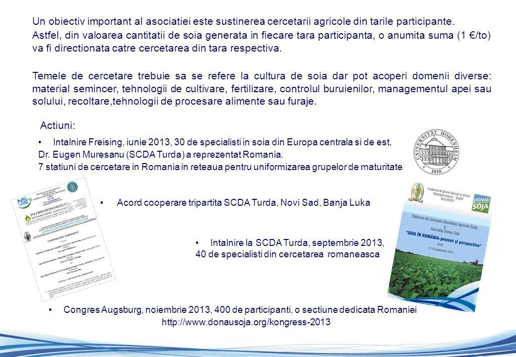 Congres Augsburg, noiembrie 2013, 400 de participanti, o sectiune dedicata Romaniei http://www.donausoja.org/kongress-2013 Un obiectiv important al asociatiei este sustinerea cercetarii agricole din tarile participante.
