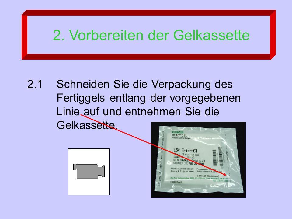 2. Vorbereiten der Gelkassette 2.1 Schneiden Sie die Verpackung des Fertiggels entlang der vorgegebenen Linie auf und entnehmen Sie die Gelkassette.