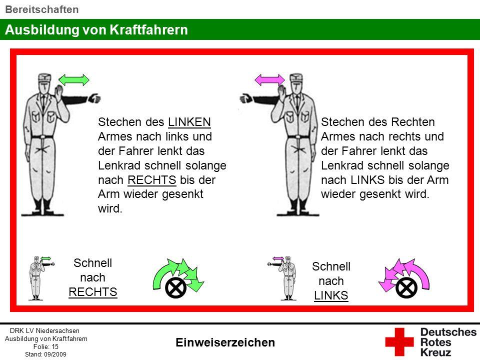 Ausbildung von Kraftfahrern DRK LV Niedersachsen Ausbildung von Kraftfahrern Folie: 15 Stand: 09/2009 Bereitschaften Stechen des LINKEN Armes nach links und der Fahrer lenkt das Lenkrad schnell solange nach RECHTS bis der Arm wieder gesenkt wird.