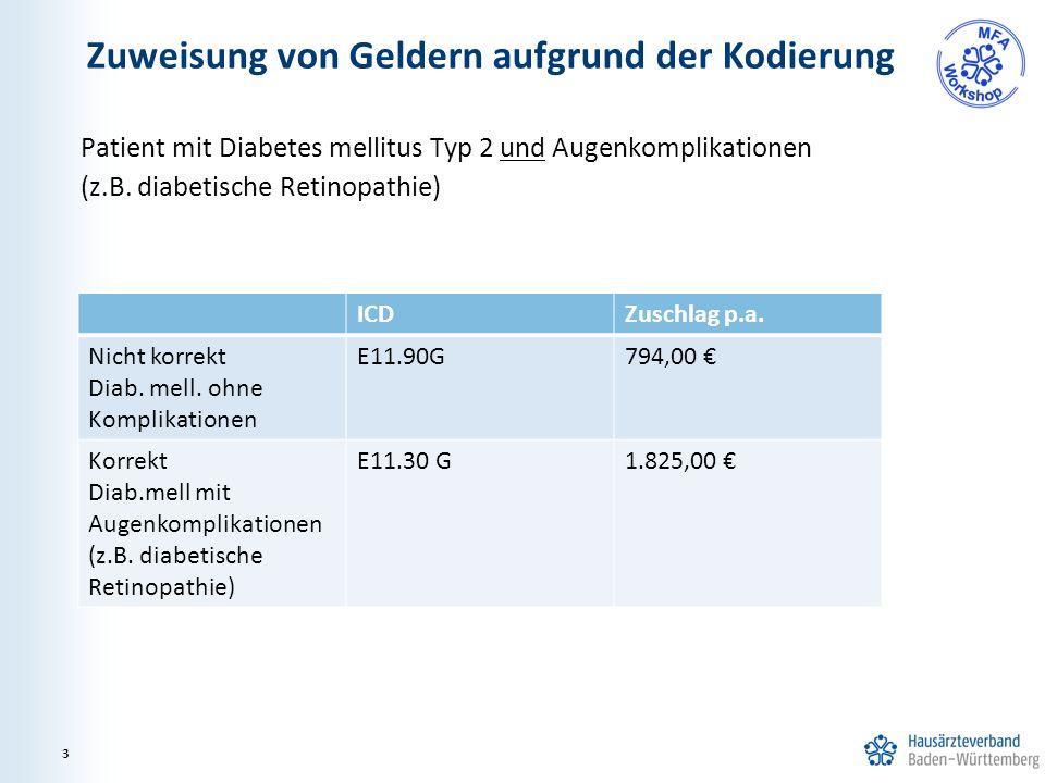Zuweisung von Geldern aufgrund der Kodierung Patient mit Diabetes mellitus Typ 2 und Augenkomplikationen (z.B.