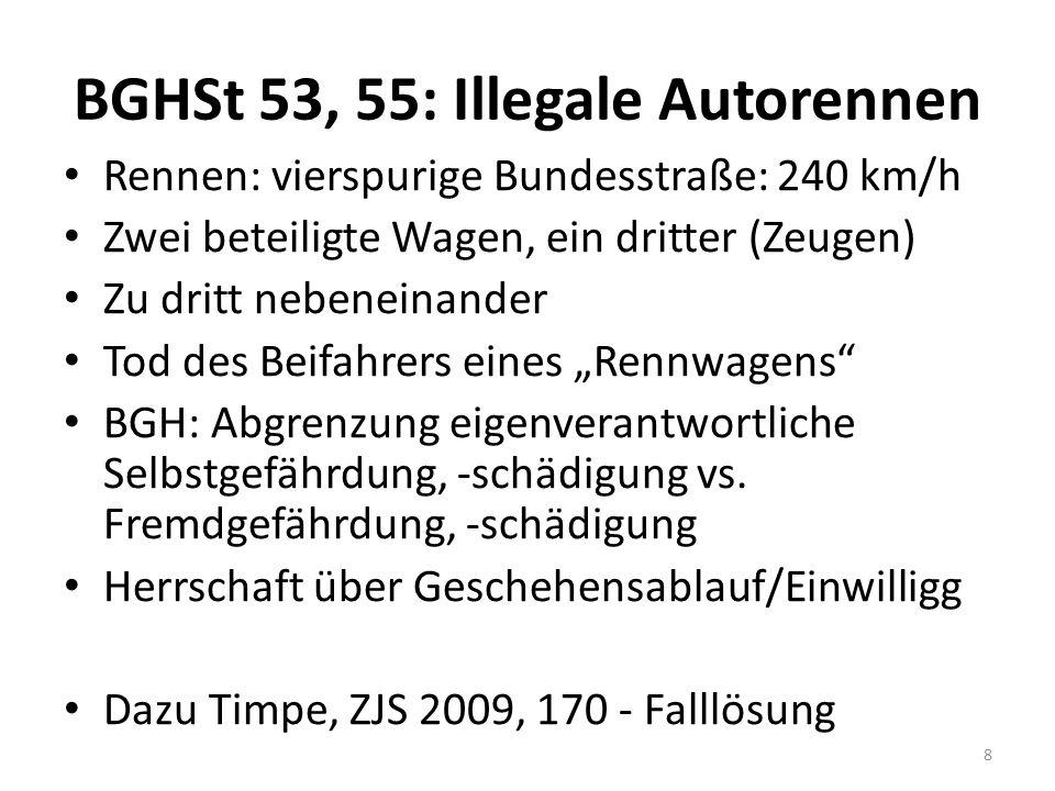 BGHSt 53, 55: Illegale Autorennen Rennen: vierspurige Bundesstraße: 240 km/h Zwei beteiligte Wagen, ein dritter (Zeugen) Zu dritt nebeneinander Tod de