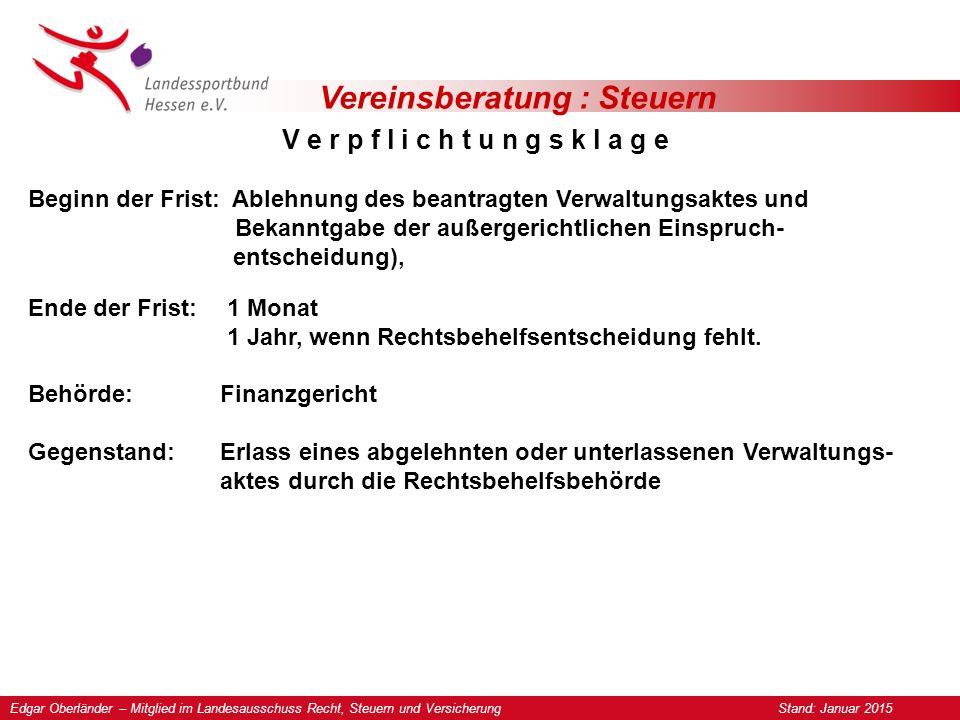 Vereinsberatung : Steuern Klage gegen Allgemeinverfügung § 367 Abs.
