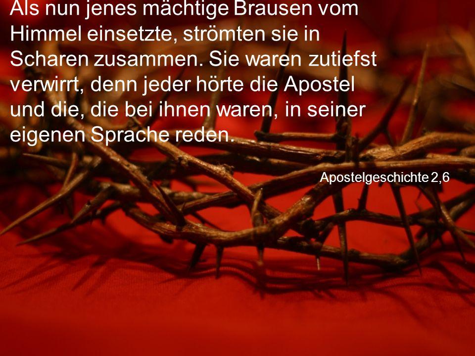 Apostelgeschichte 2,6 Als nun jenes mächtige Brausen vom Himmel einsetzte, strömten sie in Scharen zusammen.