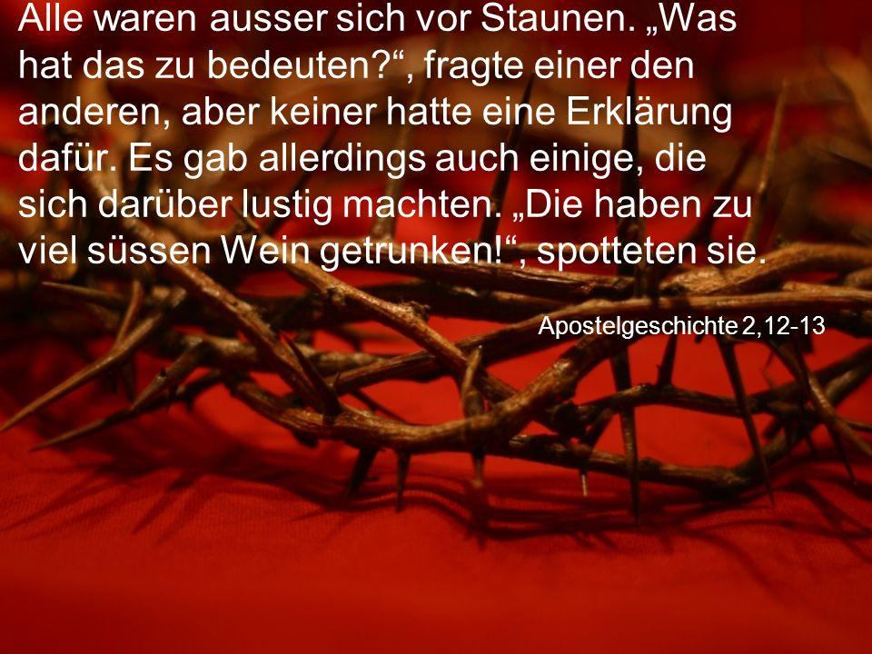 Apostelgeschichte 2,12-13 Alle waren ausser sich vor Staunen.