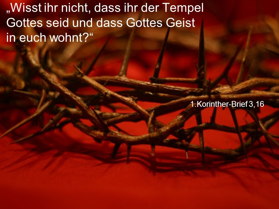 """1.Korinther-Brief 3,16 """"Wisst ihr nicht, dass ihr der Tempel Gottes seid und dass Gottes Geist in euch wohnt?"""