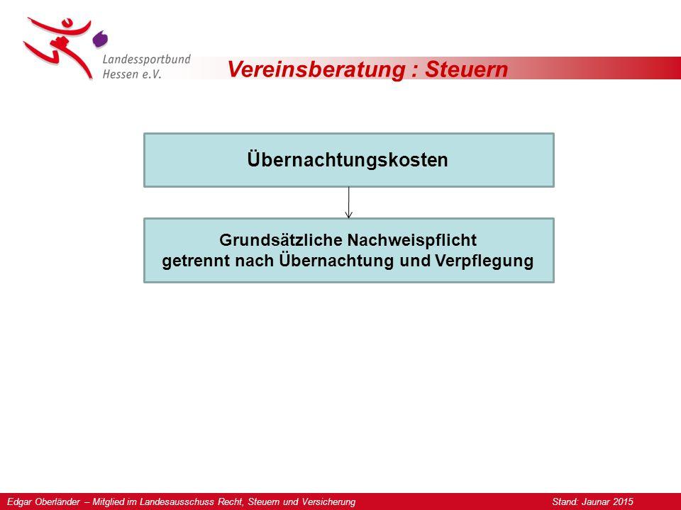 Vereinsberatung : Steuern Übernachtungskosten Grundsätzliche Nachweispflicht getrennt nach Übernachtung und Verpflegung Edgar Oberländer – Mitglied im