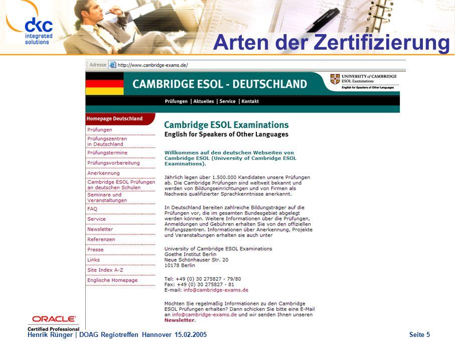 DOAG Regio Treffen Hannover 15.02.2005 The future of success Henrik Rünger | DOAG Regiotreffen Hannover 15.02.2005 Seite 16 Vorbereitung