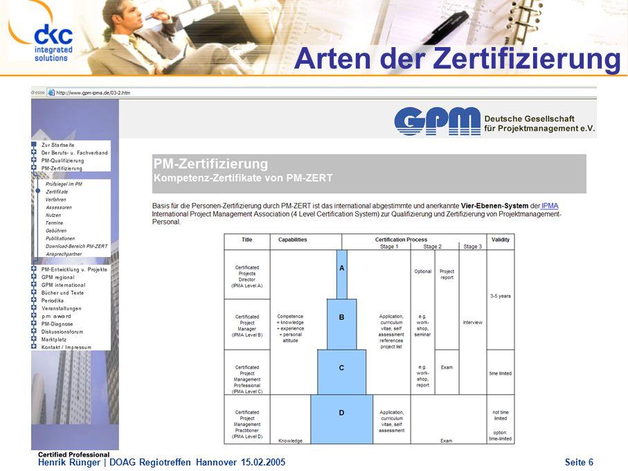 DOAG Regio Treffen Hannover 15.02.2005 The future of success Henrik Rünger | DOAG Regiotreffen Hannover 15.02.2005 Seite 6 Arten der Zertifizierung