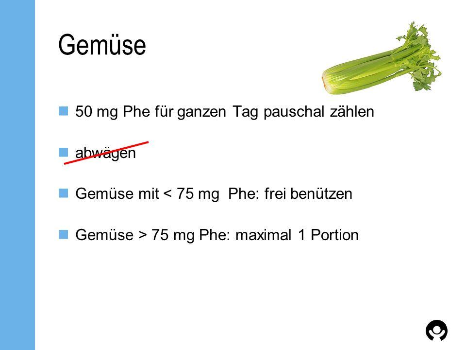 Gemüse 50 mg Phe für ganzen Tag pauschal zählen abwägen Gemüse mit < 75 mg Phe: frei benützen Gemüse > 75 mg Phe: maximal 1 Portion