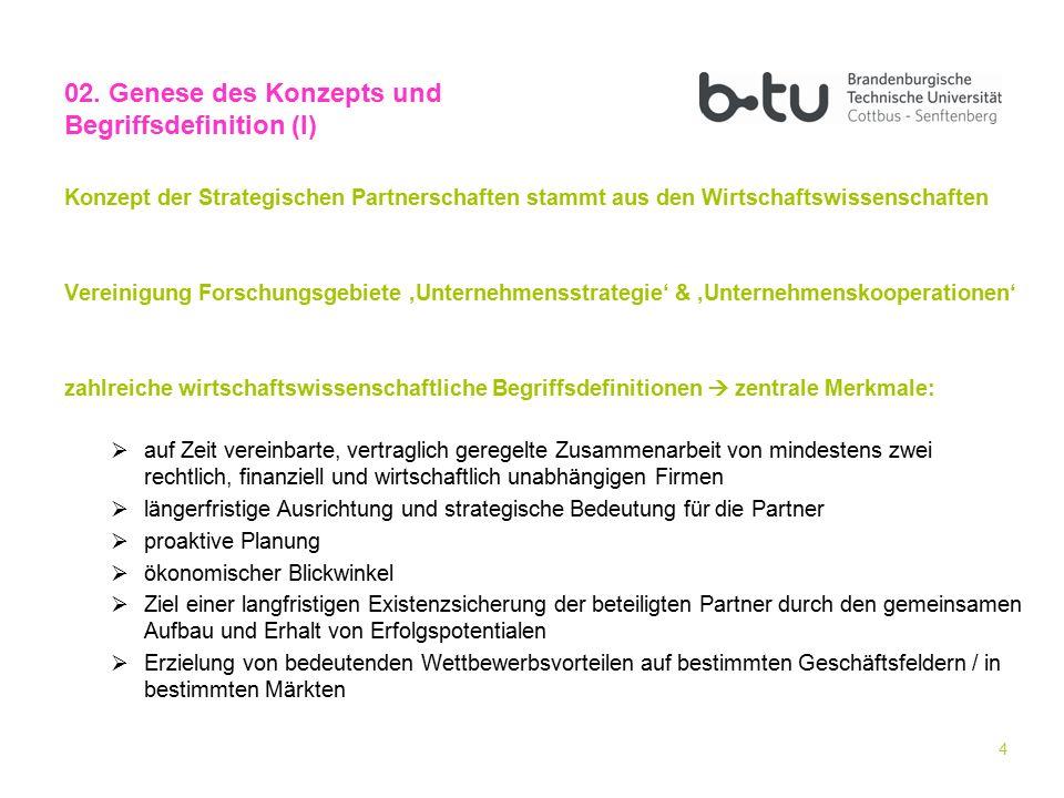 4 Konzept der Strategischen Partnerschaften stammt aus den Wirtschaftswissenschaften Vereinigung Forschungsgebiete 'Unternehmensstrategie' & 'Unterneh