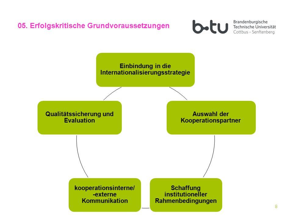 8 05. Erfolgskritische Grundvoraussetzungen Einbindung in die Internationalisierungsstrategie Auswahl der Kooperationspartner Schaffung institutionell