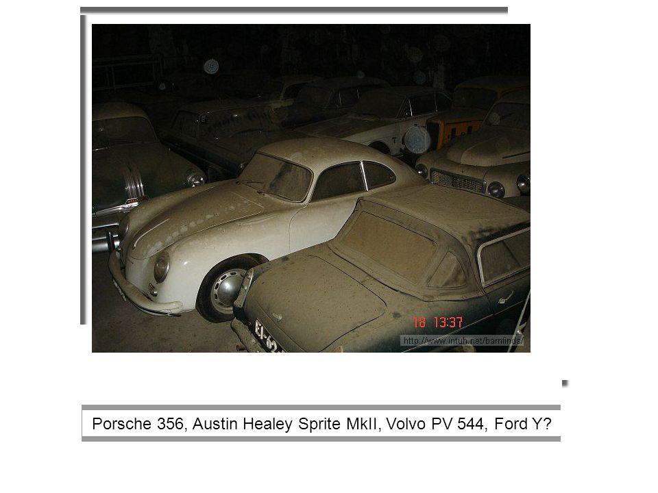 Porsche 356, Austin Healey Sprite MkII, Volvo PV 544, Ford Y?