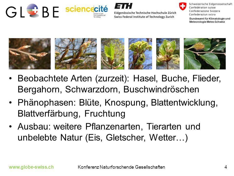 http://www.phaeno.ethz.ch/globe/ www.globe-swiss.chKonferenz Naturforschende Gesellschaften5 Bundesamt für Klimatologie und Meteorologie MeteoSchweiz