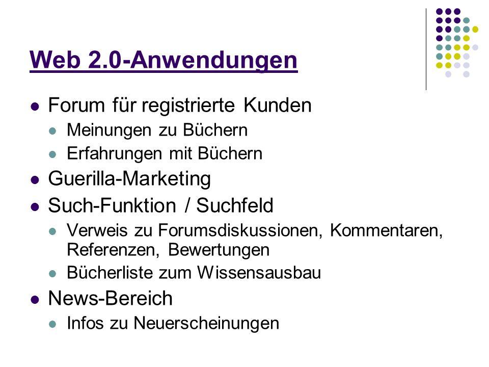 Web 2.0-Anwendungen Forum für registrierte Kunden Meinungen zu Büchern Erfahrungen mit Büchern Guerilla-Marketing Such-Funktion / Suchfeld Verweis zu Forumsdiskussionen, Kommentaren, Referenzen, Bewertungen Bücherliste zum Wissensausbau News-Bereich Infos zu Neuerscheinungen