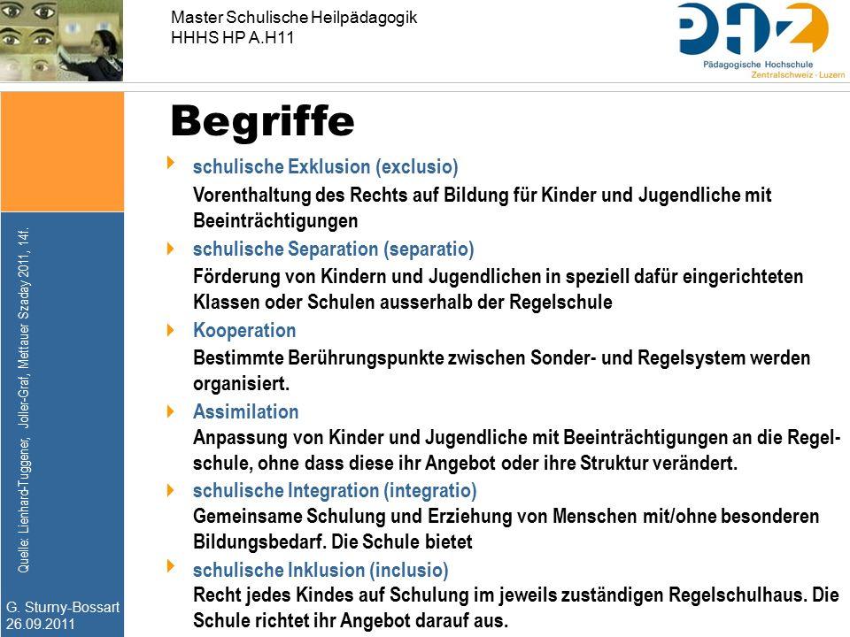 G. Sturny-Bossart 26.09.2011 Master Schulische Heilpädagogik HHHS HP A.H11 Begriffe  schulische Exklusion (exclusio) Vorenthaltung des Rechts auf Bil