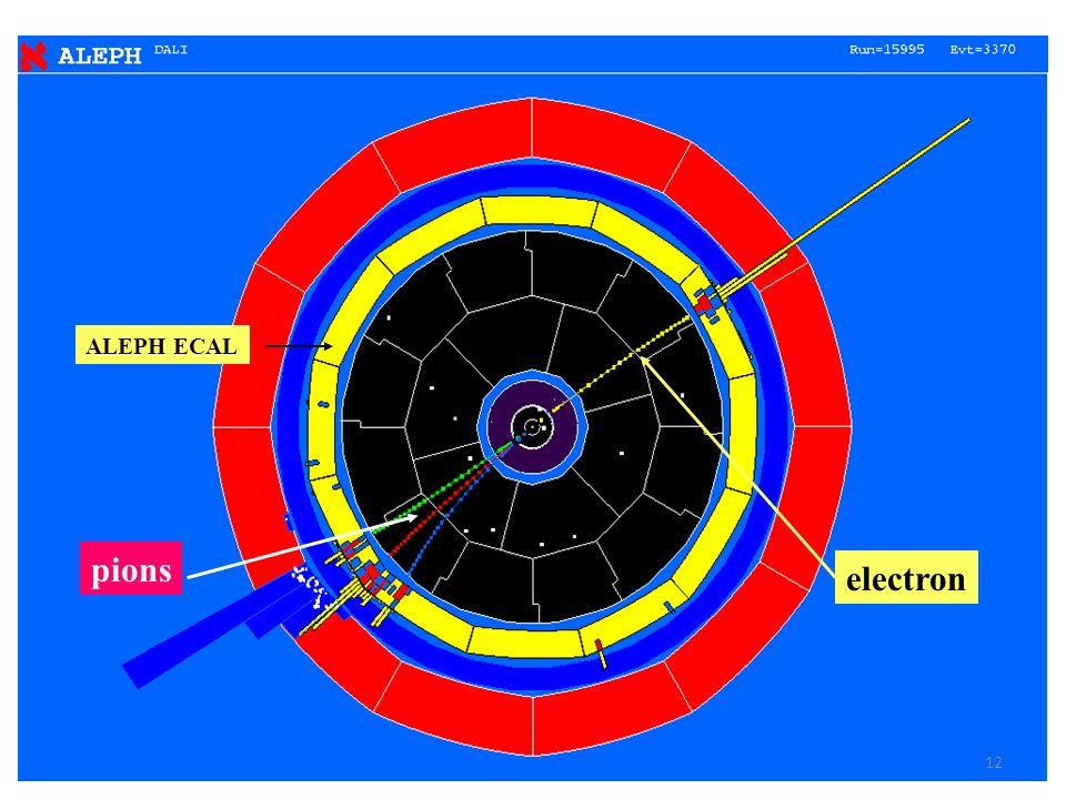 ALEPH ECAL pions electron 12