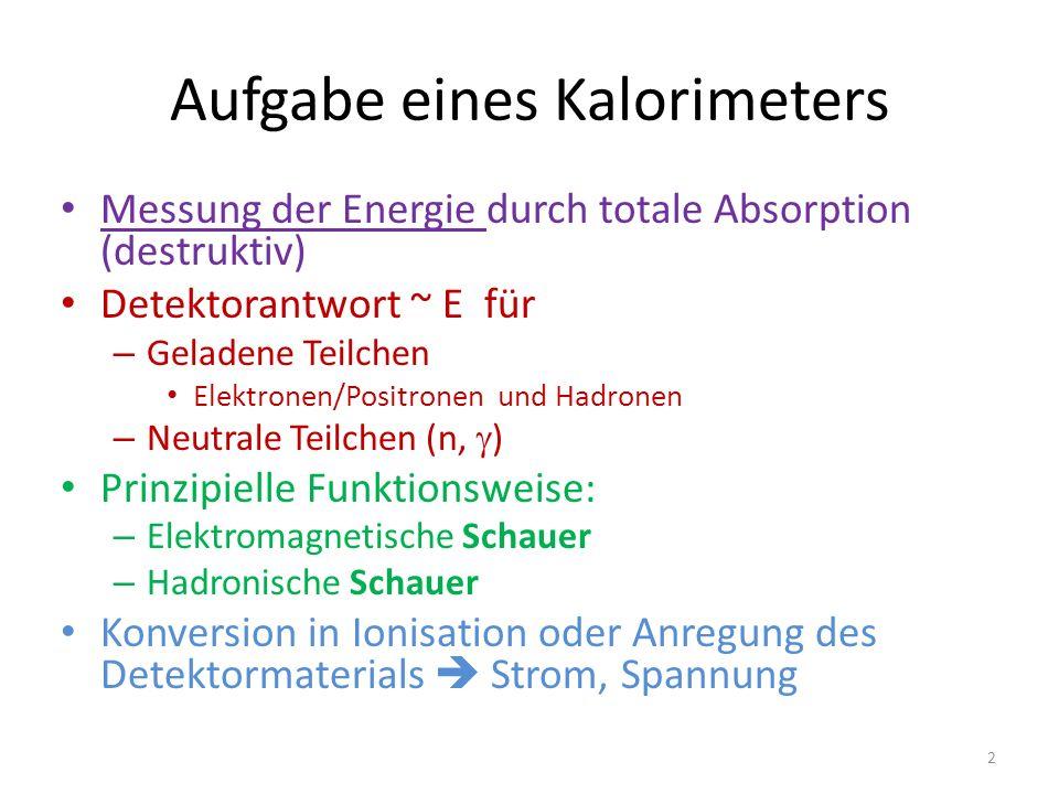 Aufgabe eines Kalorimeters Messung der Energie durch totale Absorption (destruktiv) Detektorantwort ~ E für –G–Geladene Teilchen Elektronen/Positronen und Hadronen –N–Neutrale Teilchen (n,  ) Prinzipielle Funktionsweise: –E–Elektromagnetische Schauer –H–Hadronische Schauer Konversion in Ionisation oder Anregung des Detektormaterials  Strom, Spannung 2