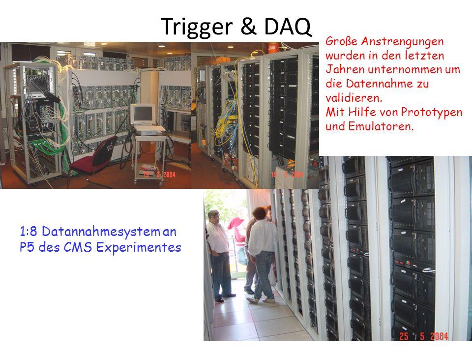 Trigger & DAQ 1:8 Datannahmesystem an P5 des CMS Experimentes Große Anstrengungen wurden in den letzten Jahren unternommen um die Datennahme zu validieren.