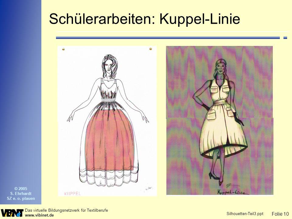 Folie 10 Das virtuelle Bildungsnetzwerk für Textilberufe www.vibinet.de © 2005 S. Ehrhardt SZ e. o. plauen Silhouetten-Teil3.ppt Schülerarbeiten: Kupp