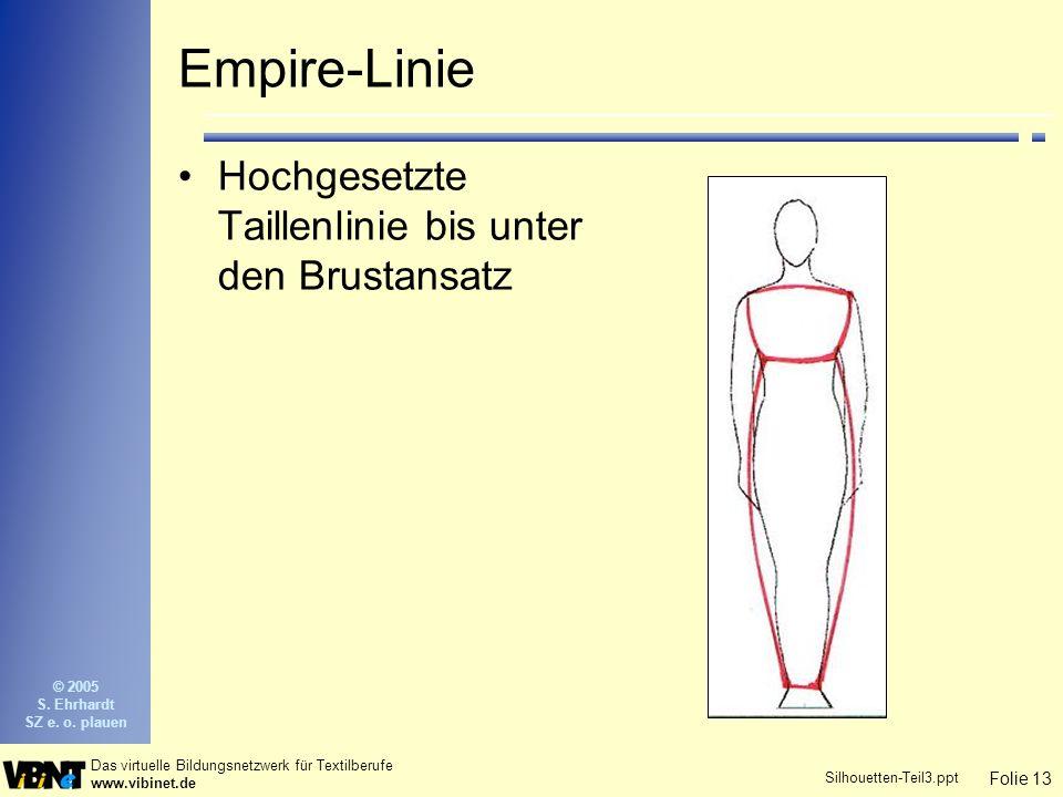 Folie 13 Das virtuelle Bildungsnetzwerk für Textilberufe www.vibinet.de © 2005 S. Ehrhardt SZ e. o. plauen Silhouetten-Teil3.ppt Empire-Linie Hochgese
