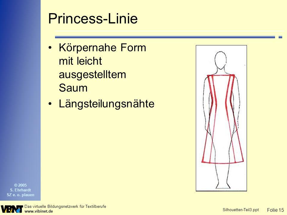 Folie 15 Das virtuelle Bildungsnetzwerk für Textilberufe www.vibinet.de © 2005 S. Ehrhardt SZ e. o. plauen Silhouetten-Teil3.ppt Princess-Linie Körper