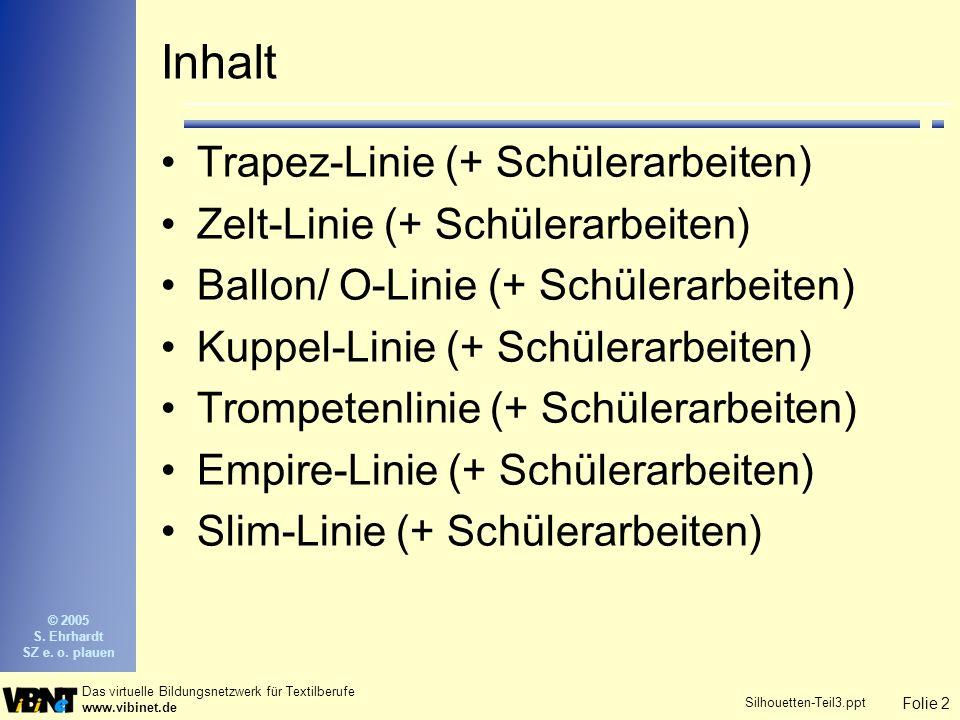 Folie 2 Das virtuelle Bildungsnetzwerk für Textilberufe www.vibinet.de © 2005 S. Ehrhardt SZ e. o. plauen Silhouetten-Teil3.ppt Inhalt Trapez-Linie (+