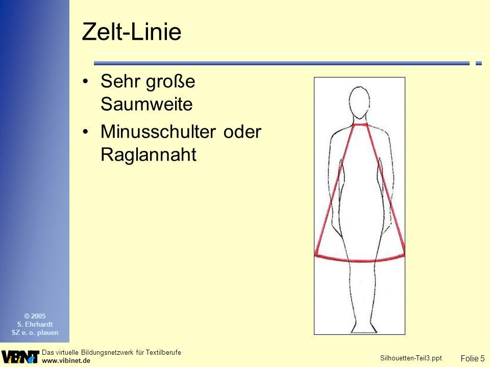Folie 5 Das virtuelle Bildungsnetzwerk für Textilberufe www.vibinet.de © 2005 S. Ehrhardt SZ e. o. plauen Silhouetten-Teil3.ppt Zelt-Linie Sehr große