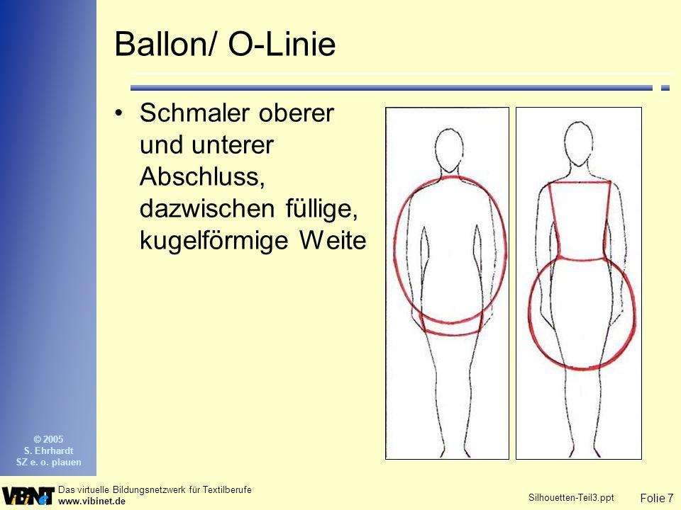 Folie 7 Das virtuelle Bildungsnetzwerk für Textilberufe www.vibinet.de © 2005 S. Ehrhardt SZ e. o. plauen Silhouetten-Teil3.ppt Ballon/ O-Linie Schmal