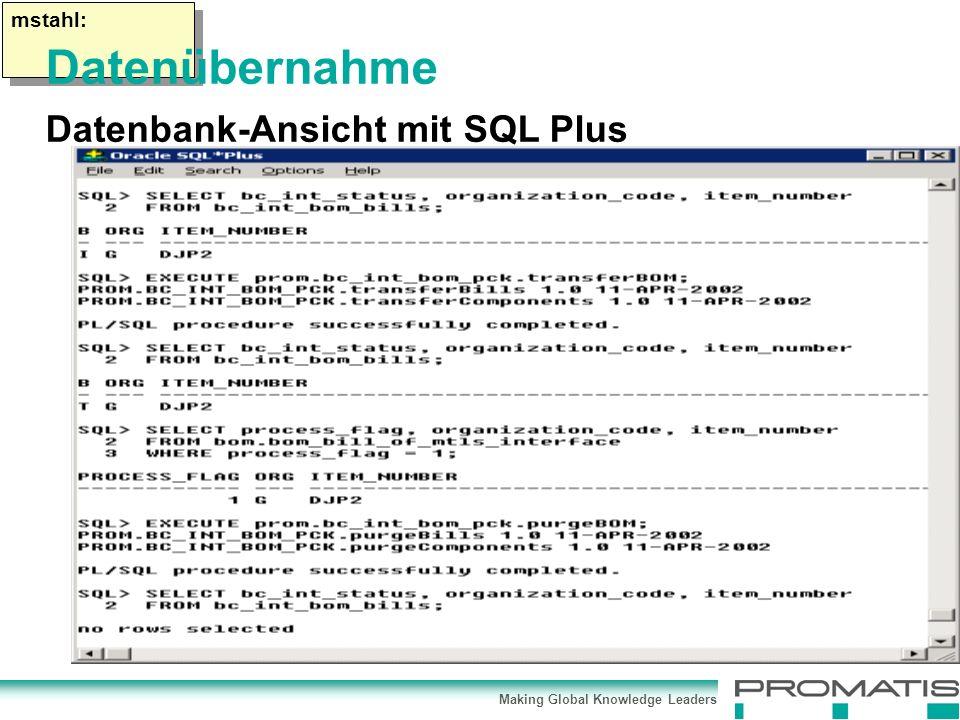 Making Global Knowledge Leaders mstahl: Datenübernahme Datenbank-Ansicht mit SQL Plus
