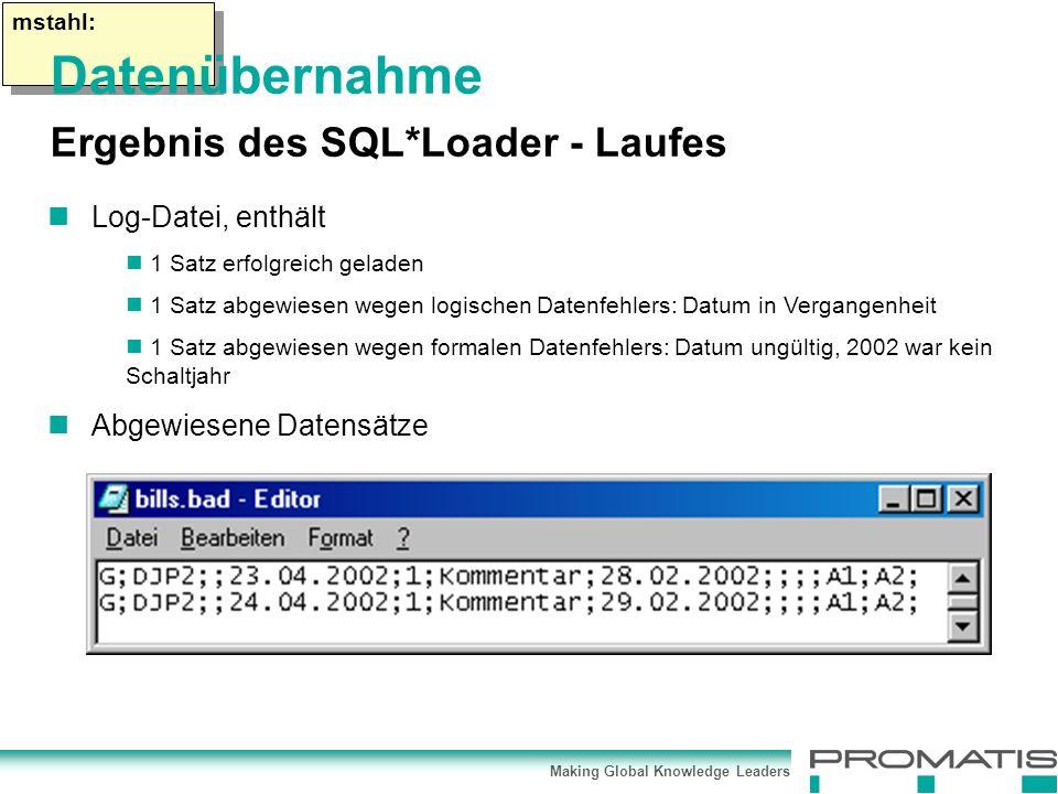 Making Global Knowledge Leaders mstahl: Log-Datei, enthält 1 Satz erfolgreich geladen 1 Satz abgewiesen wegen logischen Datenfehlers: Datum in Vergangenheit 1 Satz abgewiesen wegen formalen Datenfehlers: Datum ungültig, 2002 war kein Schaltjahr Abgewiesene Datensätze Datenübernahme Ergebnis des SQL*Loader - Laufes