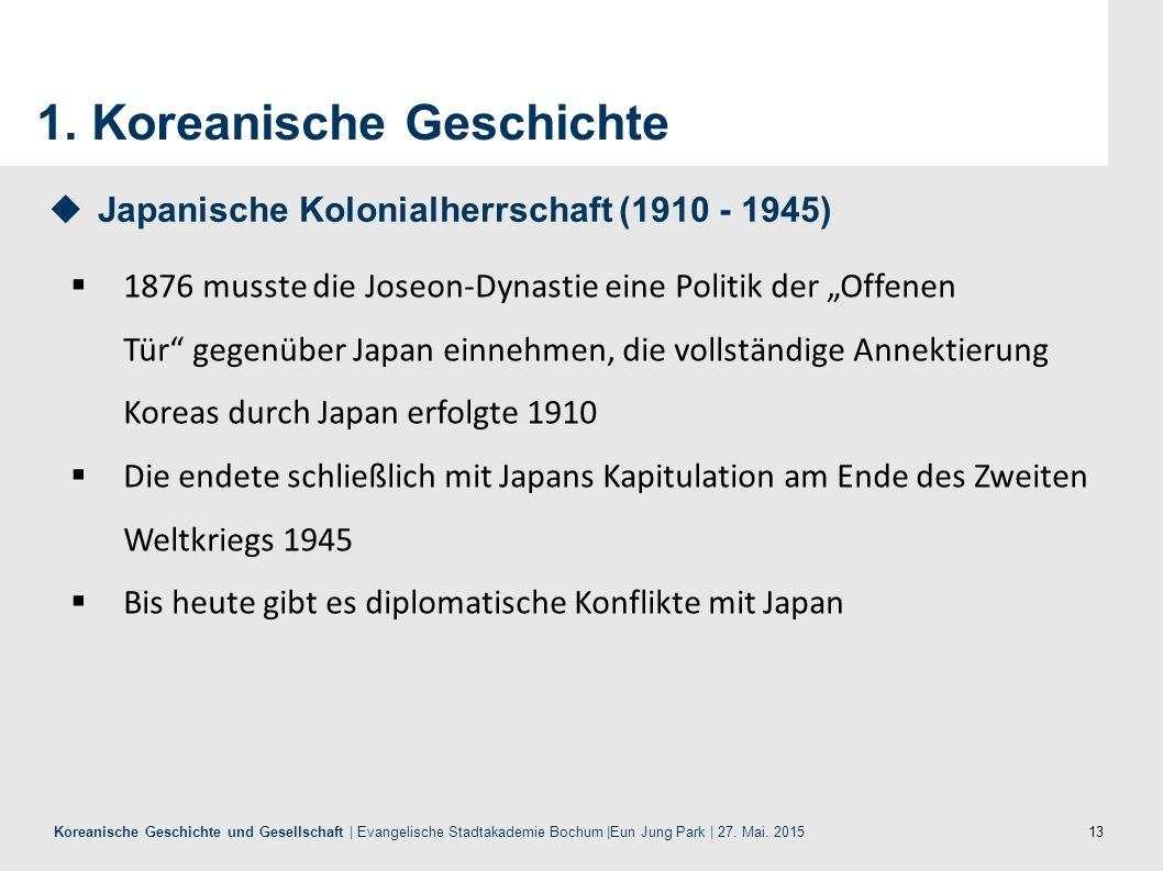 13 Koreanische Geschichte und Gesellschaft | Evangelische Stadtakademie Bochum |Eun Jung Park | 27. Mai. 2015 1. Koreanische Geschichte  1876 musste