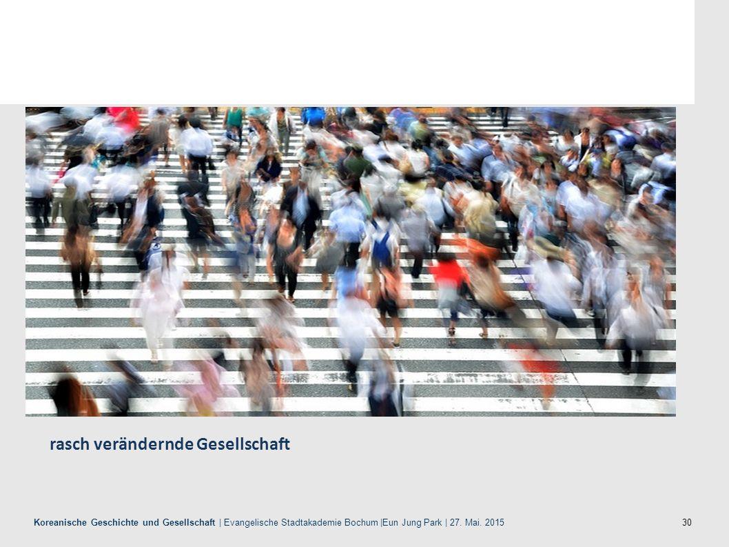 30 Koreanische Geschichte und Gesellschaft | Evangelische Stadtakademie Bochum |Eun Jung Park | 27. Mai. 2015 rasch verändernde Gesellschaft