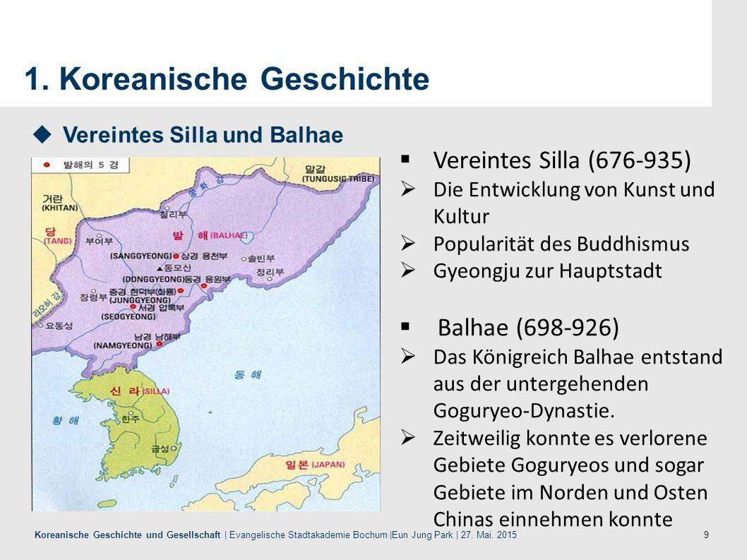 9 Koreanische Geschichte und Gesellschaft | Evangelische Stadtakademie Bochum |Eun Jung Park | 27. Mai. 2015 1. Koreanische Geschichte  Vereintes Sil