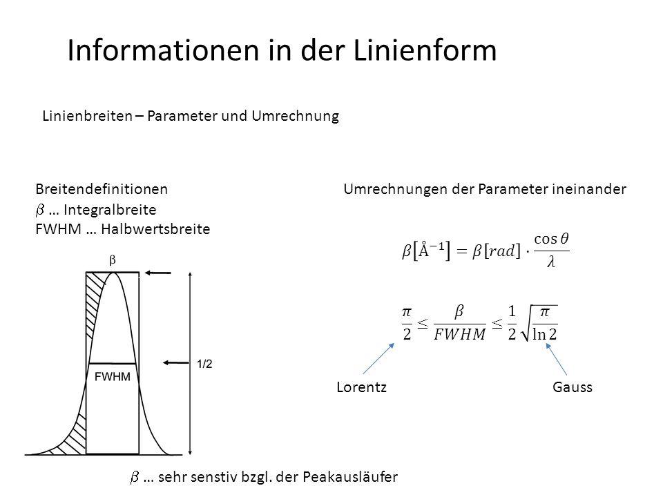 Informationen in der Linienform Linienbreiten – Parameter und Umrechnung Breitendefinitionen  … Integralbreite FWHM … Halbwertsbreite Umrechnungen der Parameter ineinander LorentzGauss  … sehr senstiv bzgl.