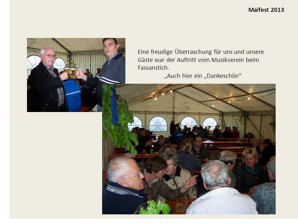 und dann mit dem Frontlader hoch Maifest 2013 Eine freudige Überraschung für uns und unsere Gäste war der Auftritt vom Musikverein beim Fassanstich.